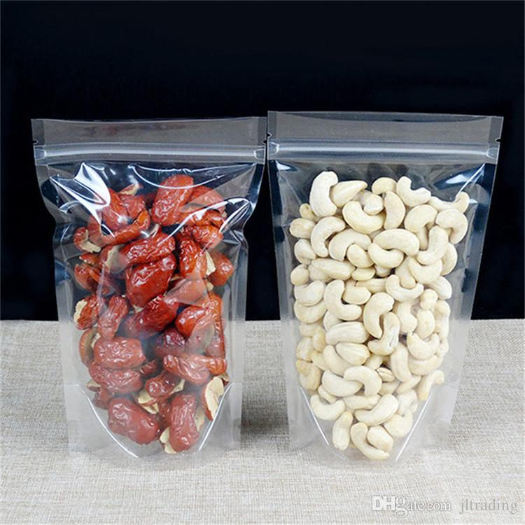 Reusable Stand Up High Transparent Plastic ZipLock Bags Clear Self-sealed Pouches Zipper Bags