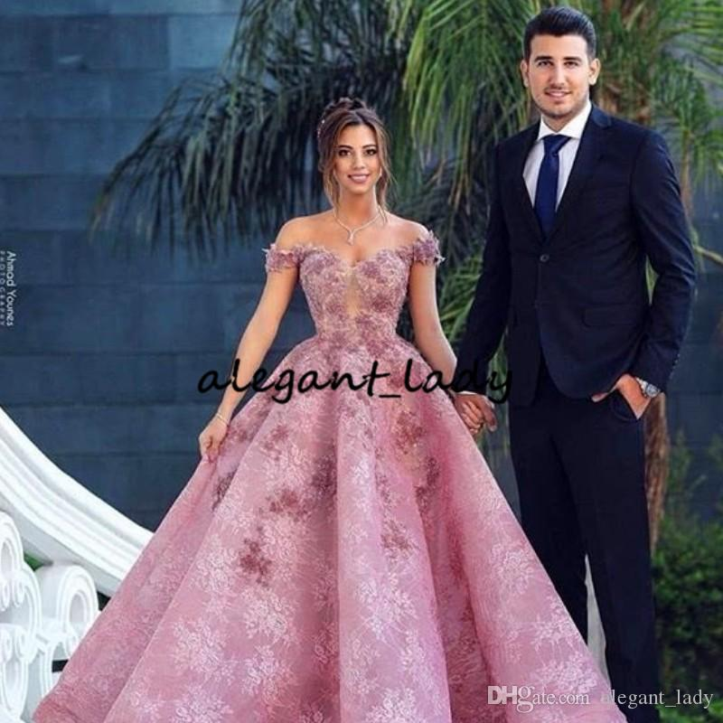 Pink 3D Floral Prom Formal Dresses 2019 Modest Off Shoulder Full Lace Puffy Skirt Dubai Arabic Occasion Evening Gown