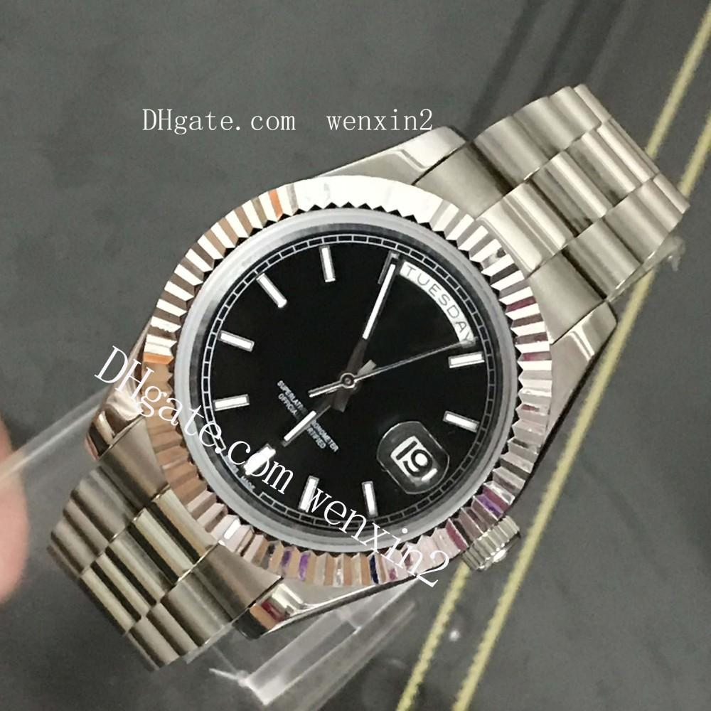 5018203d88 Compre Luxo 18 K Presidente De Prata Dia Date Sapphire Cystal Genebra  Homens Relógios Movimento Mecânico Automático Masculino Relógio De Pulso De  Wenxin2