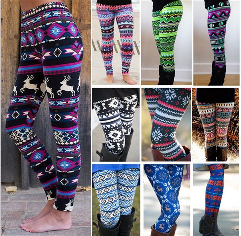 ba9e6b7bc4bf2 Women Leggings Christmas Costumes Snowflake Elk Deer Printed Skinny  Stretchy Pants Bodycon Trousers Legins Tights Mother And Daughter Pants  Christmas Cloth ...