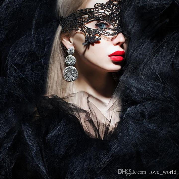 New Masquerade Lace Half Face Masks Fashion Sexy Lace Eye Masks Hollow Flower Party Mask Eye Masquerade Solid Sexy Black Woven Eye Masks