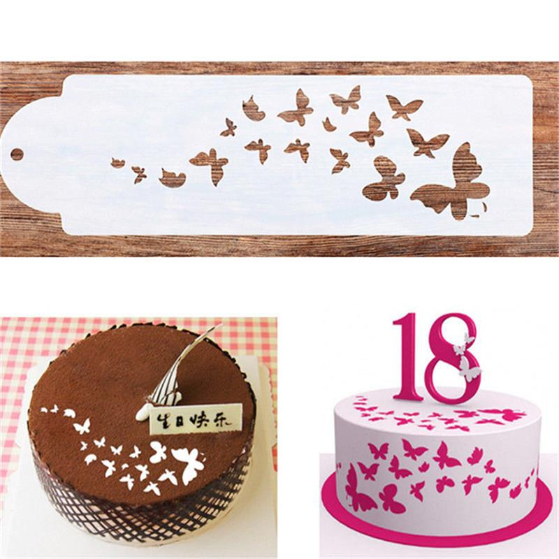 2019 PP Cake Spray Mold Happy Birthday Butterfly Pattern Stencils Decoration From Calars 3377