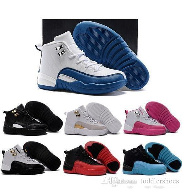promo code 968d4 1ffe1 Online Sale Cheap New Black Pink 12 Kids basketball shoes for Boys Girls  sneakers Children Baby 12s running shoe Size 11C-3Y