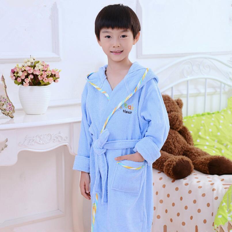 Bathrobe Kids Boys Robe For Children 100% Cotton Warm Lengthen Robe Thicken Hooded Dressing Gown Men Towel Fleece Pajamas Robes