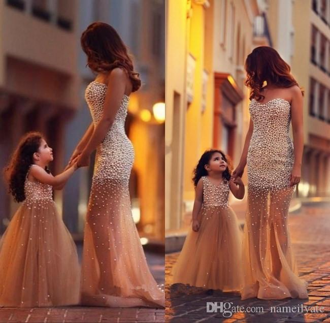 Little Sexy 2018 Pearls A-Line Said Mhamad Champagne Flowers Girls Dresses Beads Mother and Daughter Flower Girl Dress Gowns