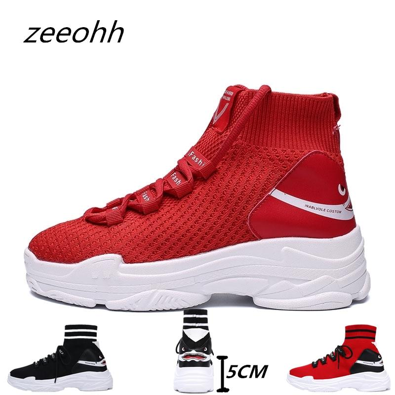 6497a0d20d5 2019 Zeeohh Students Brand High Top Sneakers Women Knit Upper Breathable  Shoes Fashion Shark Logo Unisex Thick Sole 5CM Couple Shoes From Teawugong