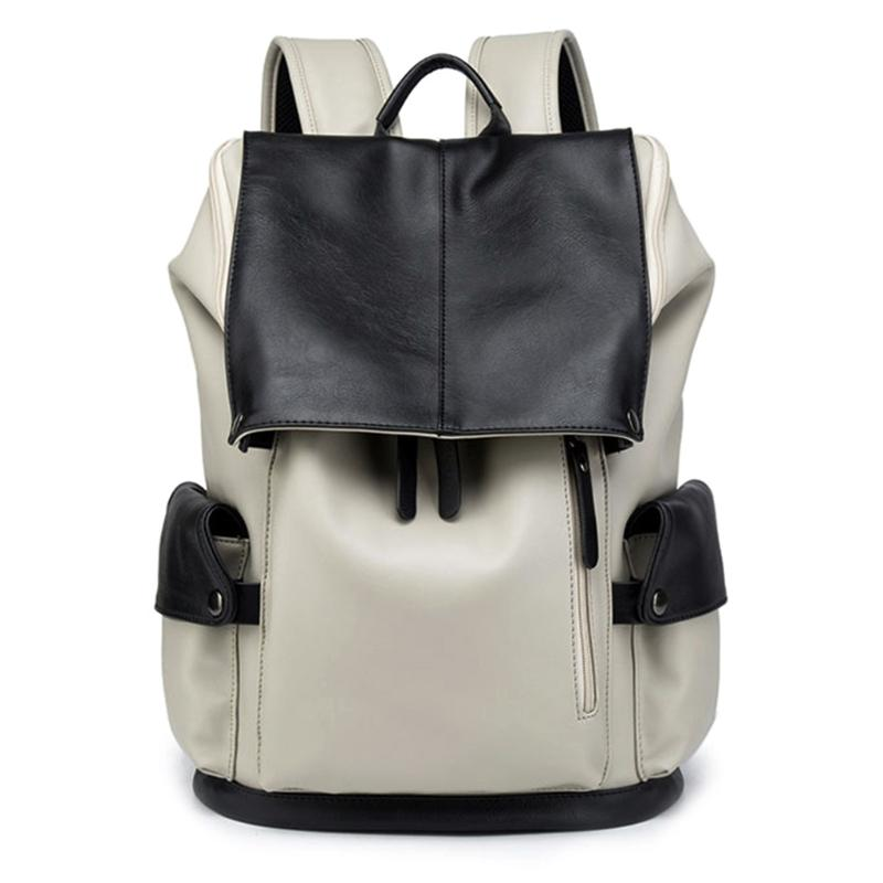 Men S Fashion Daily Leather Backpack Travel Casual Satchel Laptop