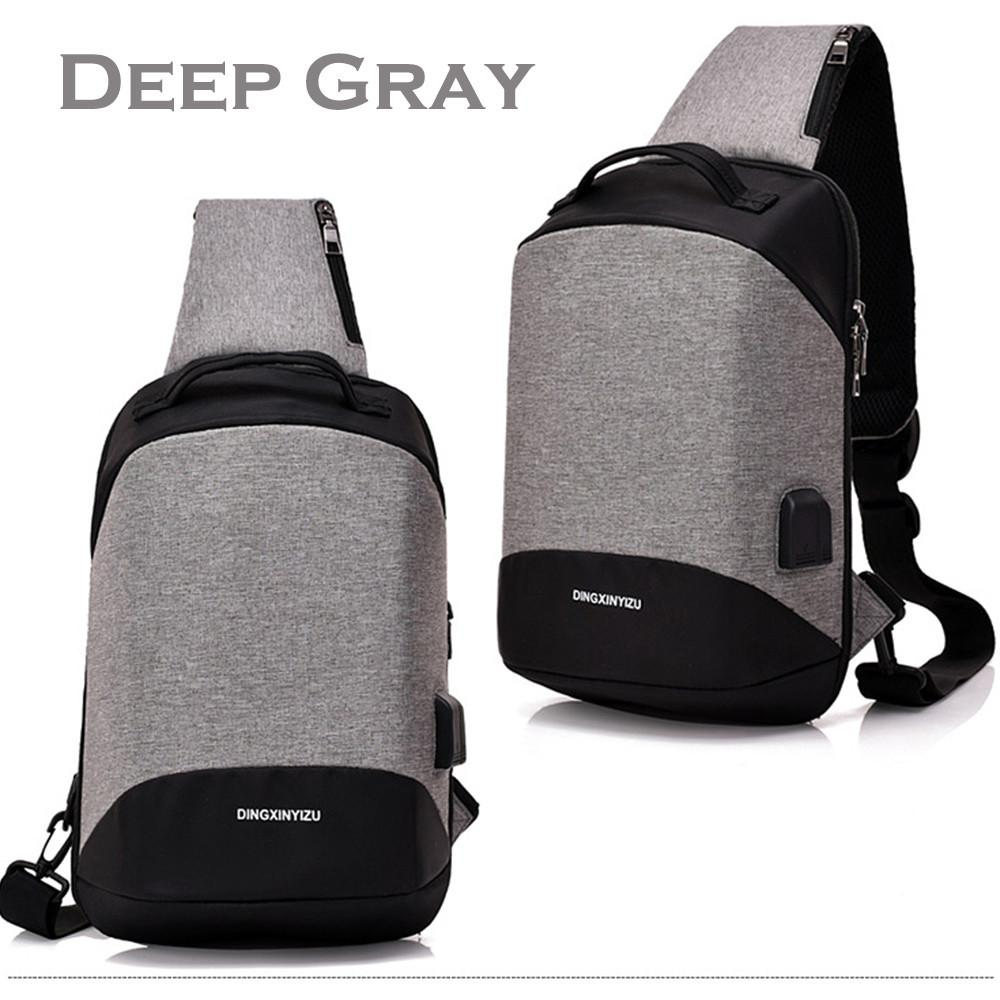84aaaa7aa9e2 Multi-functional Crossbody Bag Casual Anti Theft Chest Bag with USB ...