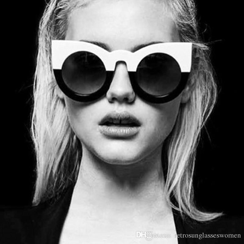 Compre 2018 Moda Cat Eye Sunglasses Mujeres Gran Marco Completo ...