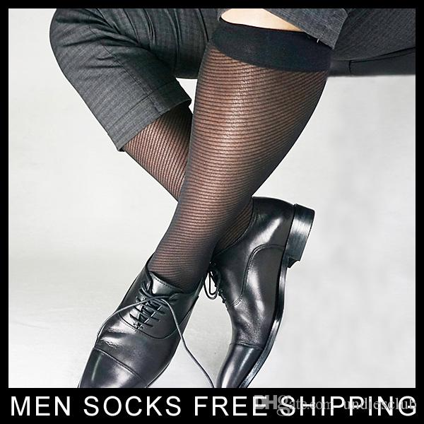 Geschäfts-formale Marke Mens Socken Nylon Seide Schwarze Farbe Sexy Kleid passt für Lederschuhe Männlich Fetisch Sheer Thin Socken Navy
