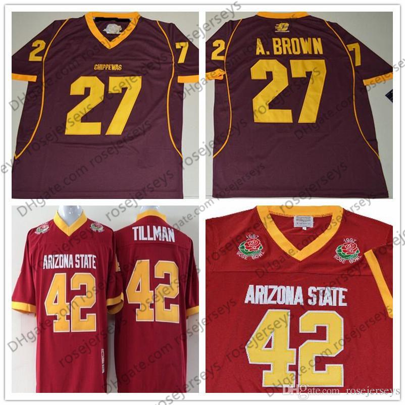 ASU  42 Pat Tillman Red 1997 Rose Bowl Vintage Arizona State Sun Devils  Jersey Central Michigan Chippewas  27 Antonio Brown 84 Black White Pat  Tillman ASU ... ed6a6cb32