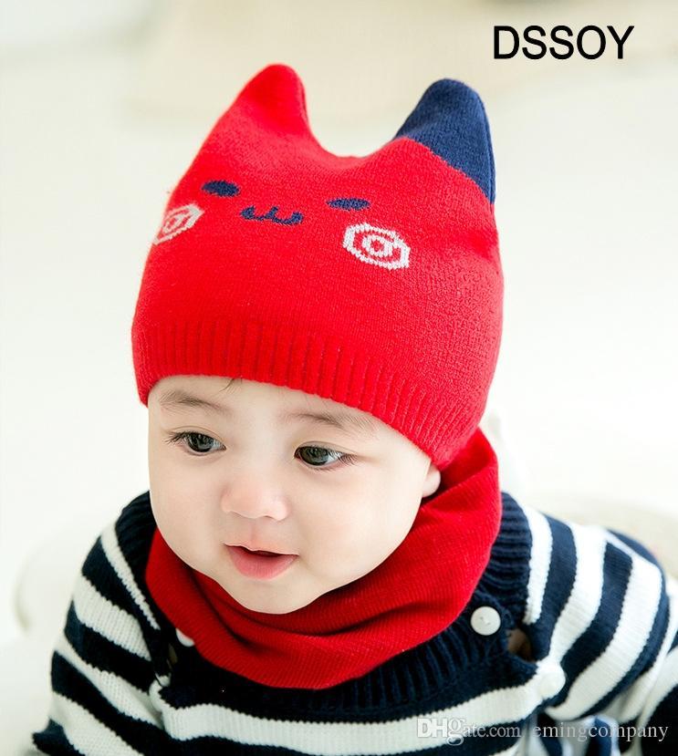 d95938bb56b Designer Meow Winter Children Hat Kids Bonnet Girl Boy Knitted Beanies  Scarves Set Newborn Baby Photograhy Props Hair Accessories Headbands Slouchy  Beanie ...