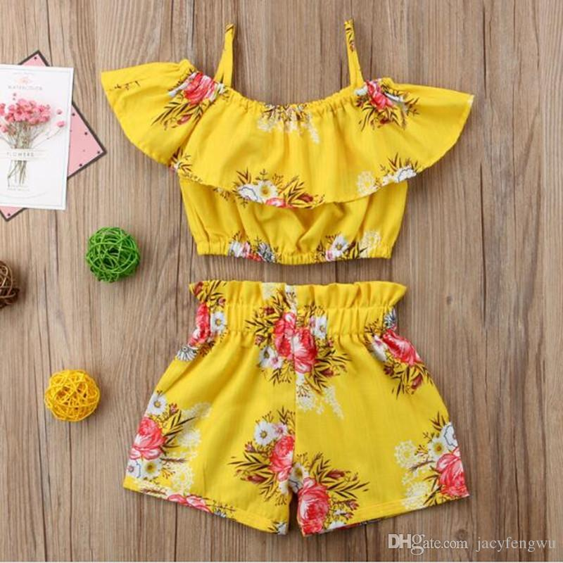 3a9375fd5ca 2019 New Baby Girls Outfits Flower Shorts Children Clothing Sets Fashion  Summer Kids Clothes Printed Ruffle Tops + Shorts Suits XZT032 From  Jacyfengwu