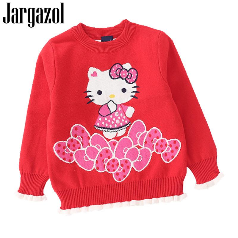 0642d759e Jargazol Kids Clothes Baby Girl Sweater Cartoon Hello Kitty Printed Autumn  Winter Long Sleeve Shirt Cute Girls Sweaters Knitting Patterns For Girls  Sweaters ...