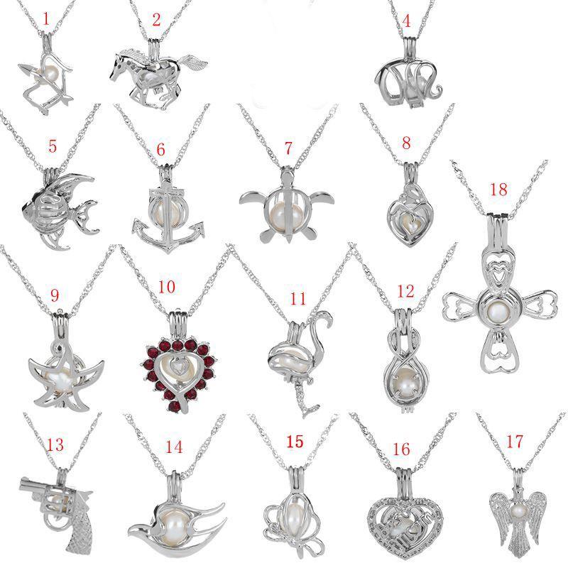 b2710691b5b6 60 unids mujeres collar de colgante de ostras de perlas de plata de moda  jaula de perlas colgante medallón collar con 45 cm cadenas de enlace envío  ...