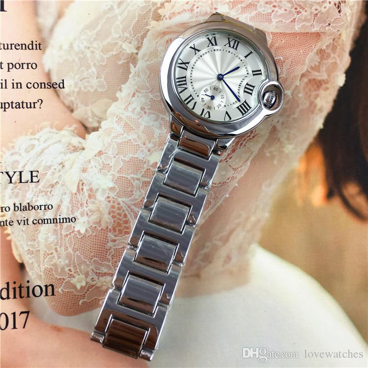 Vente chaude Mode Femmes / Homme Montre Homme Montre-Bracelet De Luxe Haute Qualité En Acier Inoxydable Classique Amant De Brillance Montres Haute Qualité serrure pliante