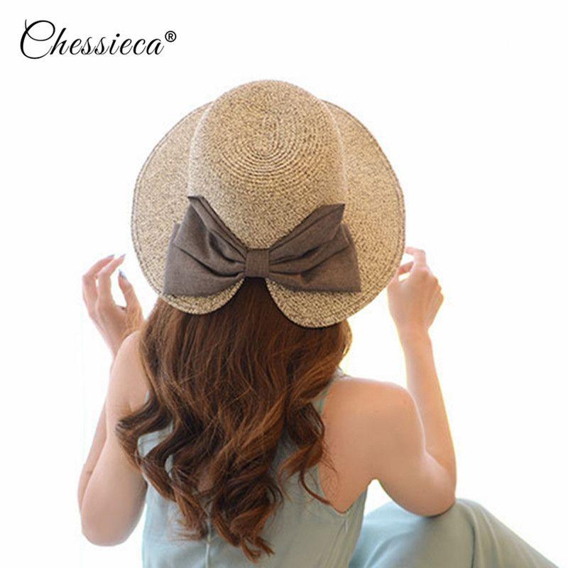 52d8846cae1 Wholesale Women s Sun Hat Big Bow Wide Brim Floppy Summer Hats For Women  Beach Panama Straw Bucket Cap Protection Visor Femme Men Hats Baby Sun Hat  From ...