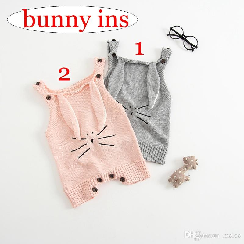 283308382de9 2019 Ins AUTUMN WINTER BABY 100% COTTON HAND Bunny Ear VEST KNITTED ...