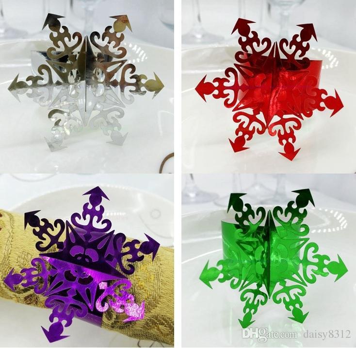Laser Cut Hollow Snowflake Paper Card Napkin Ring Serviette Buckle Holder Hotel Wedding Party Favour Decoration