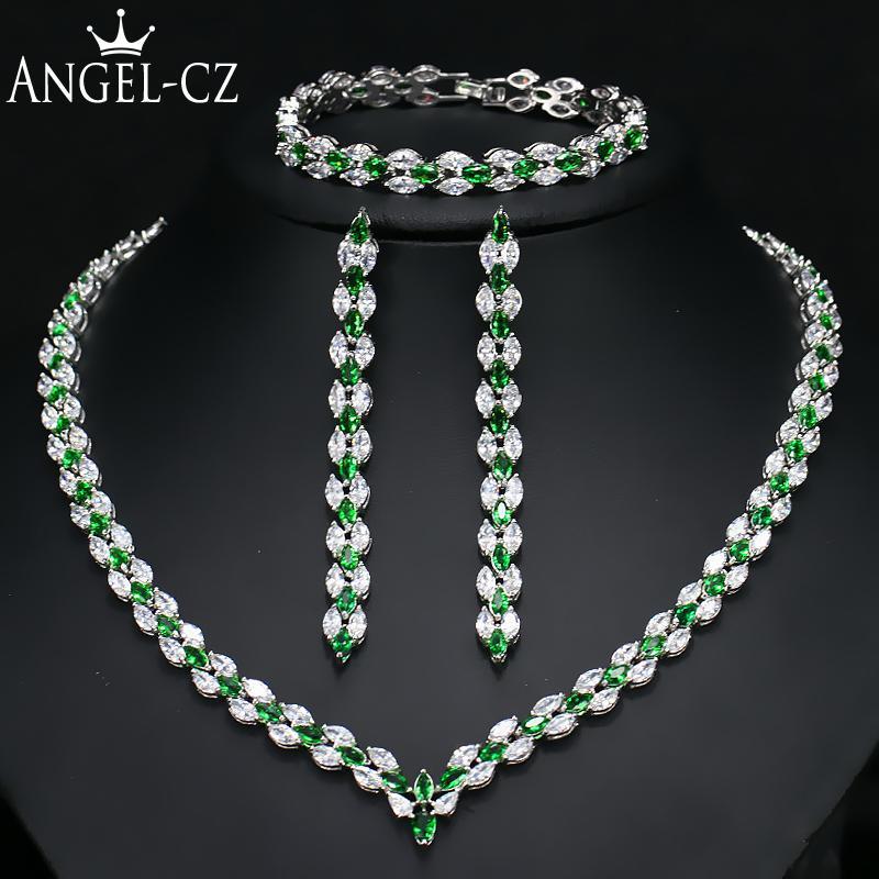 Cz Wedding Sets.Angelcz Brand New Leaf Cz Wedding Necklace Earrings Bracelet For Women Indian Green Bridal Sets Fashion Crystal Jewellery Aj126