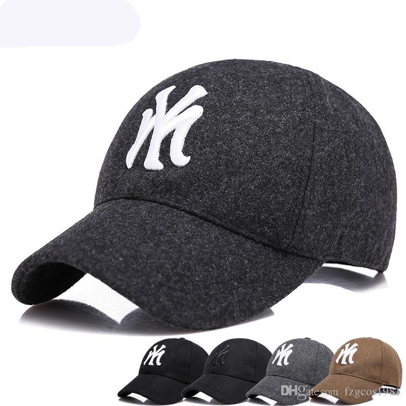 258f08cb6 2018 NewestWinter Cotton baseball cap NY New Fashion Delicate snapback hat  for men women sun hat letter embroidery cap male Cool bone gorra