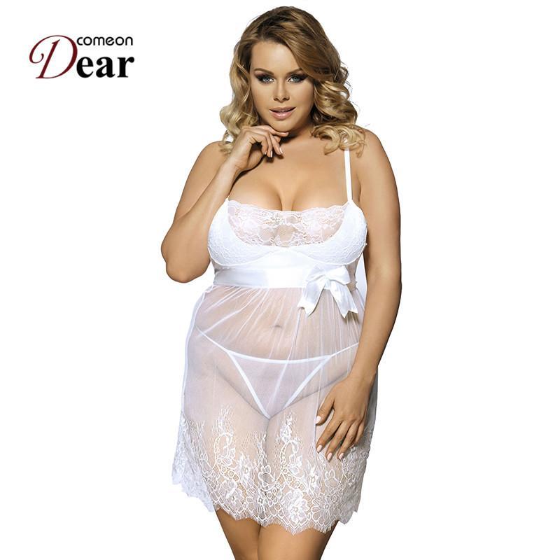 5edef81e334 Comeondear Sexy Costumes Underwear Plus Size Lingerie Strappy Sheer Mesh  Sexy Lingerie Hot White Bride Wedding Vestido Eroticos D18110902 Christmas  Pajamas ...