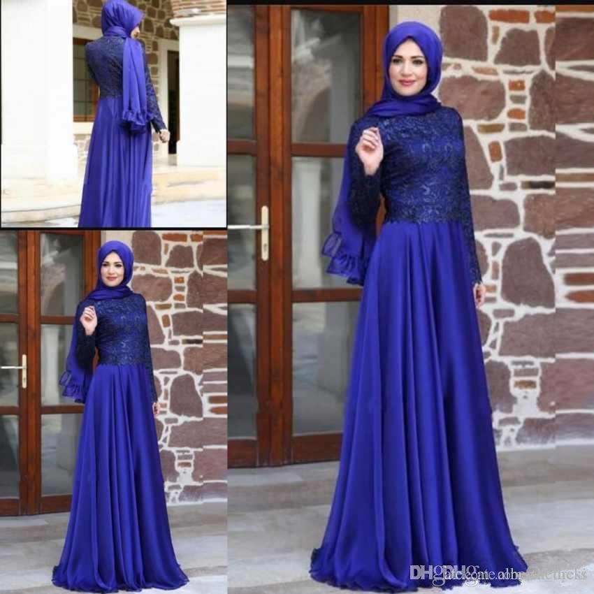 Arabic Newest Chiffon High Neck Evening Dresses Long Sleeves Lace Appliques Floor Length Prom Gowns Party Dresses Custom Made