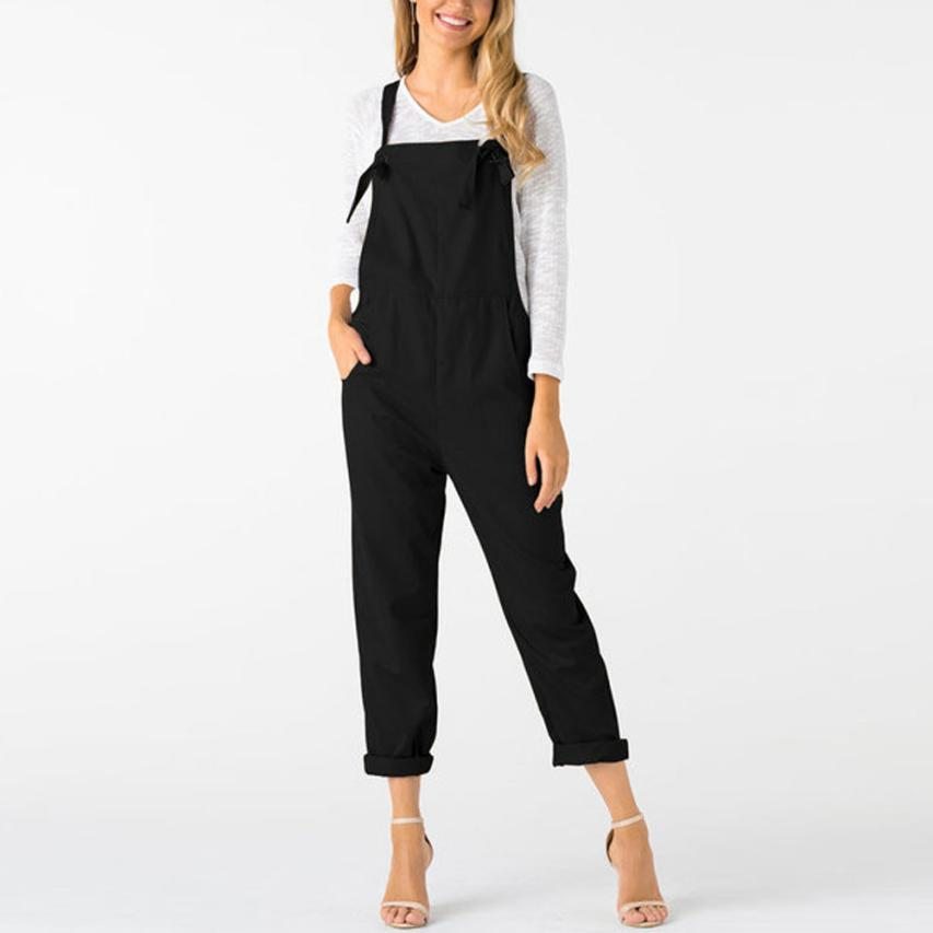 a51ec8ac7979 2019 2018 Summer Womens Romper Loose Dungarees Loose Long Pockets Rompers  Jumpsuit Pants Trousers Mamelucos Womens Jumpsuit C30814 From Tuhua