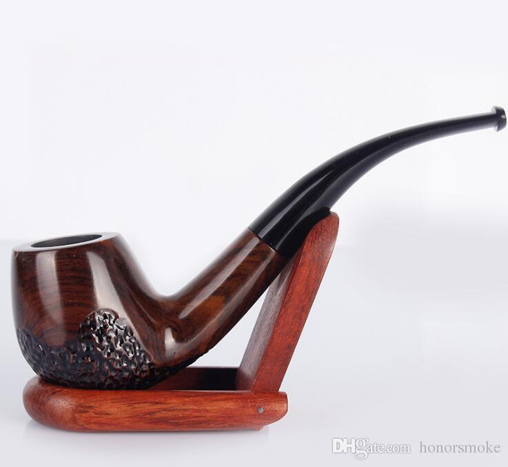 Preto e Ebony duráveis Pipes piteira Pipes Madeira fumadores mão de madeira 4 estilos para o tabaco de charuto ferramentas Os acessórios de alta qualidade