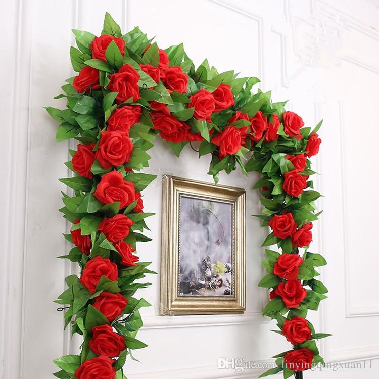 245cm 14 Colors Wedding decoration Artificial Fake Silk Rose Flower Vine Hanging Garland Wedding Home Decor Decorative Flowers & Wreaths