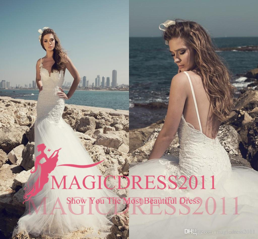 5a819a799c4 New Arrival 2019 Julie Vino Sexy Wedding Dresses Spaghetti Straps Backless  Lace Tulle Beach Wedding Gowns Custom Made Wedding Party Beach Wedding Gowns  ...
