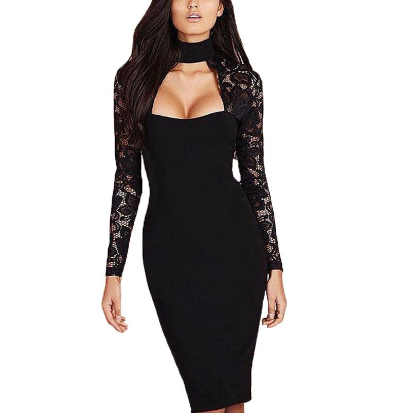6b655bd6ffe Women Bodycon Dress Elegant Vintage Black Lace Long Sleeve Female Sexy Dress  Stand Collar Vestidos 744875 Online with $30.63/Piece on Bestshirt004's  Store ...