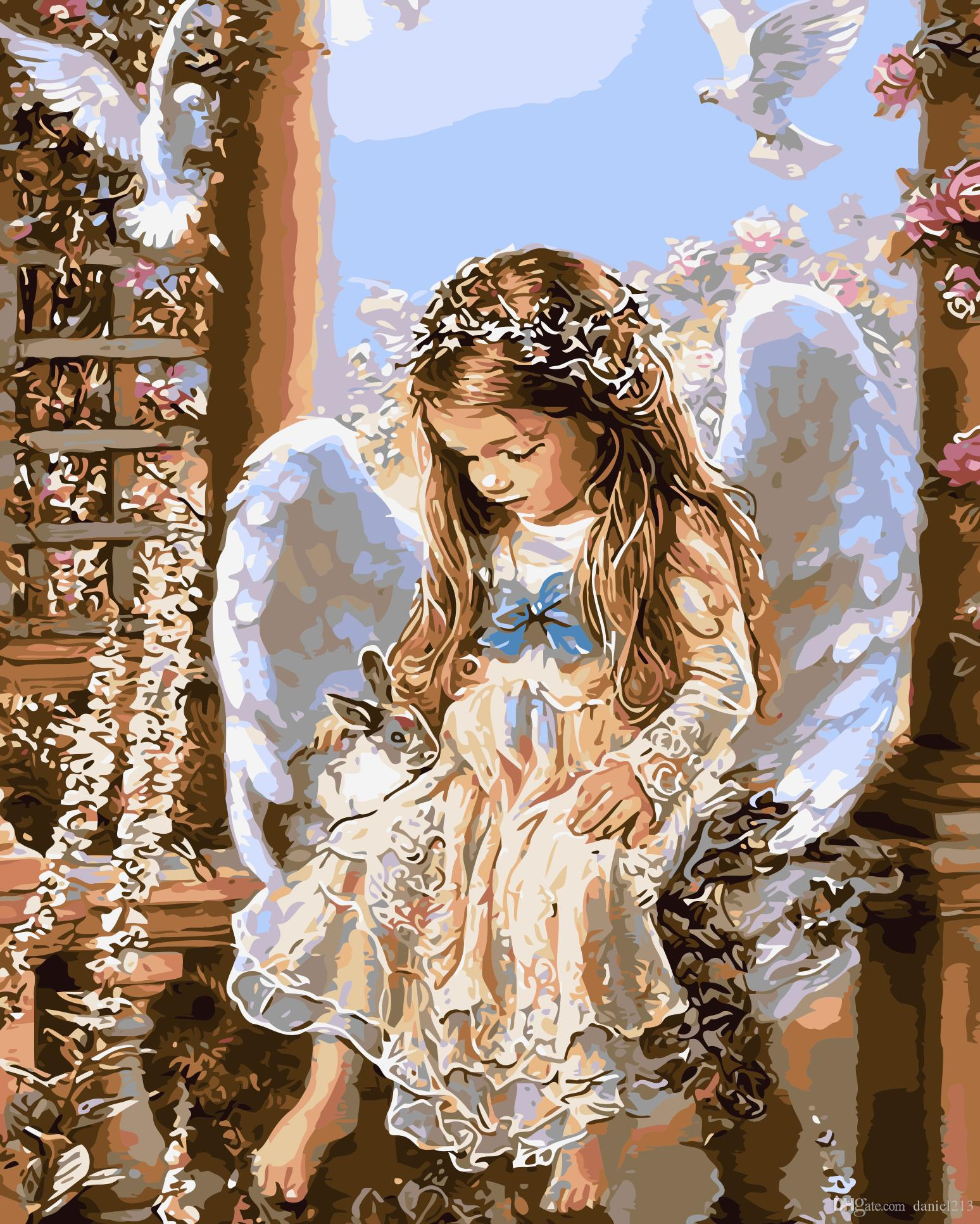 16x20 inches Merry Christmas Waiting Little Angel DIY Paint On Canvas drawing By Numbers Kits Art Acrylic Oil Painting Frame For Adult Teen
