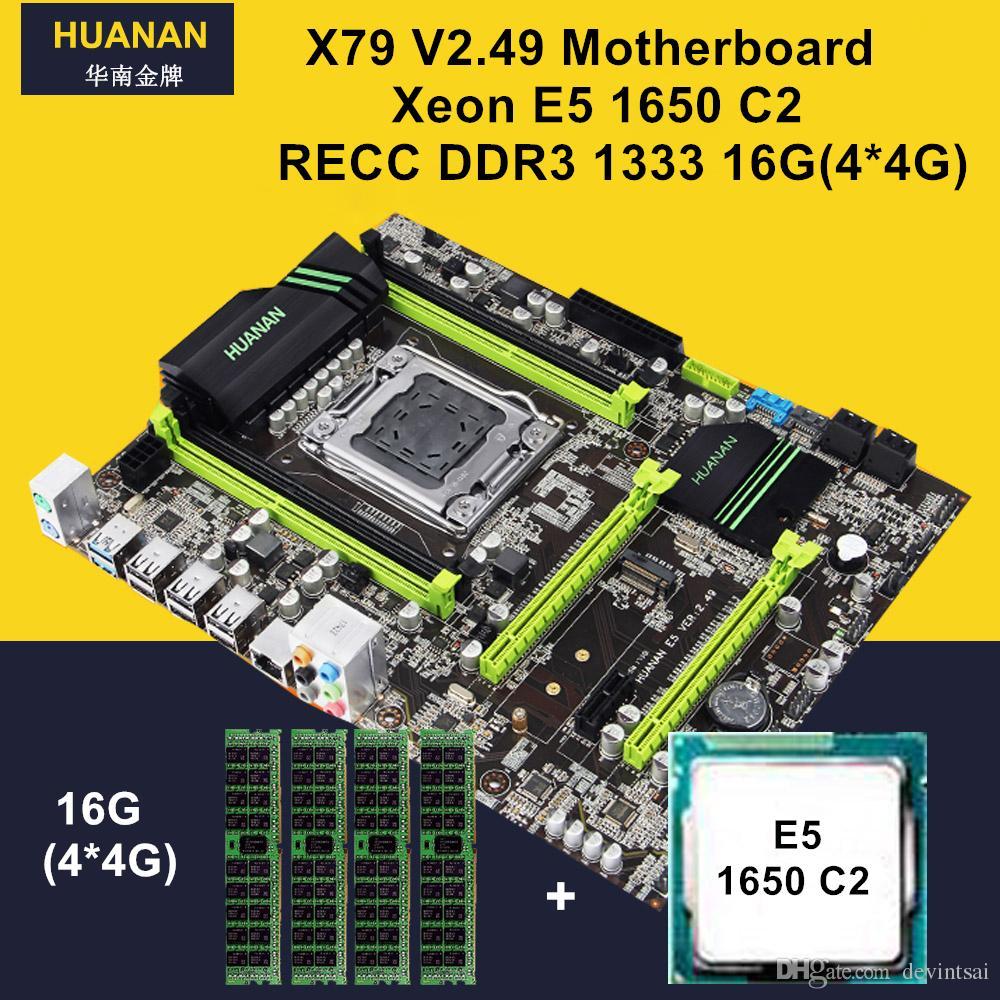 HUANAN V2.49 X79 LGA 2011 Motherboard CPU RAM Combos Xeon E5 1650 C2 CPU RAM 16G4*4G DDR3 RECC NVME SSD M.2 Port Max 4*16G Memory