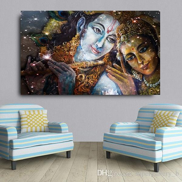 Handpainted Hd Print Religious Fantasy Portrait Art Oil Painting Krishna And Radha Buddha High Quality Wall Art On Canvas Home Deco