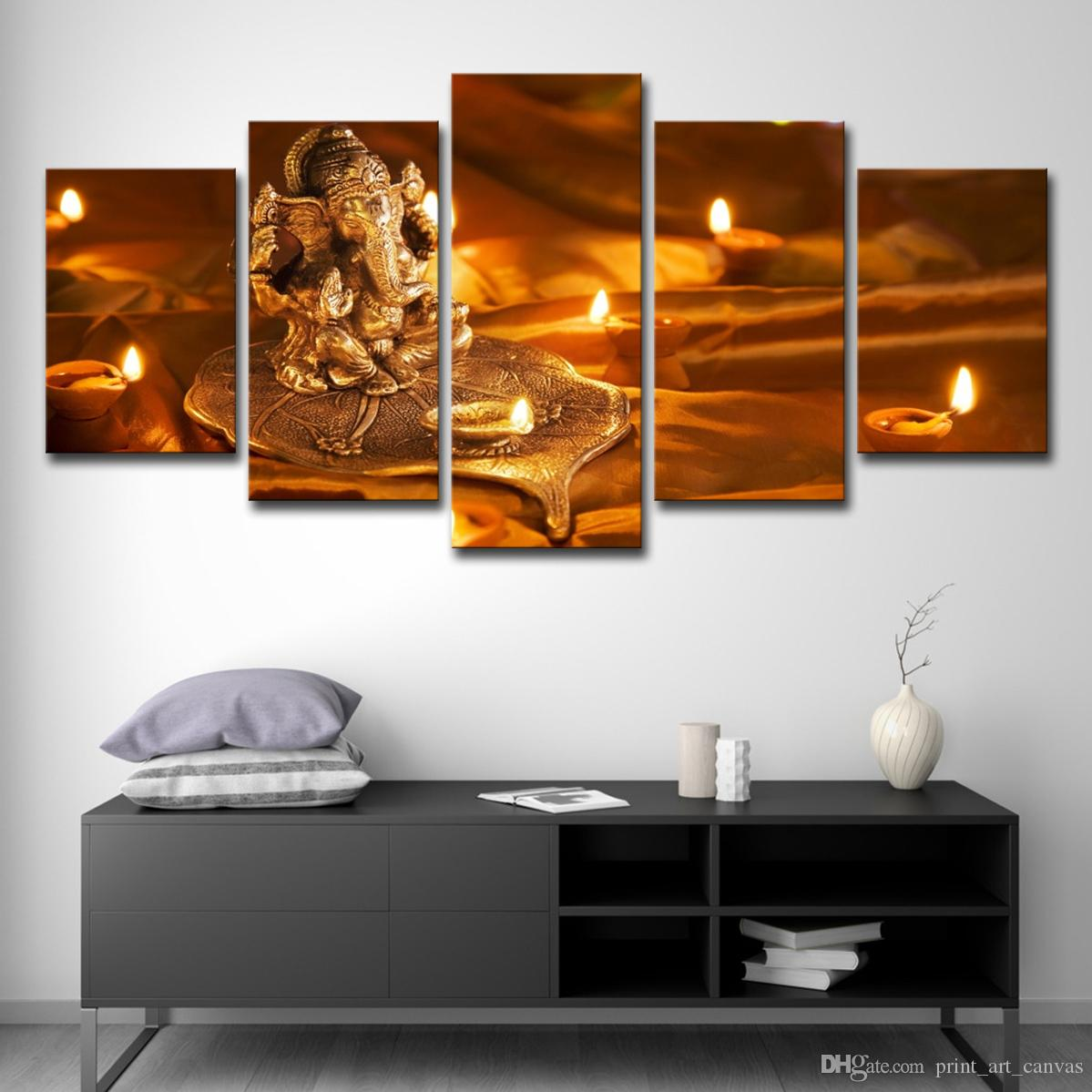 Modern Canvas Wall Art Pictures Modular Hd Prints Poster 5 Pieces Lord Ganesha Diwali Paintings For Living Room Decor