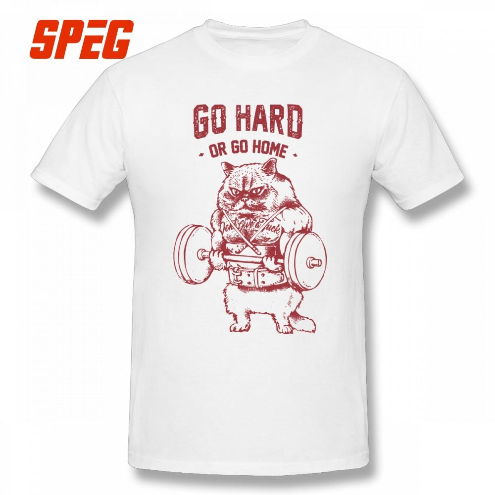 9e5a0f006 Go Hard Or Go Home Cat T-Shirts Awesome T Shirts Pure Cotton Men's Short  Sleeved Funny Tee Shirt Hot Sale Plus Size