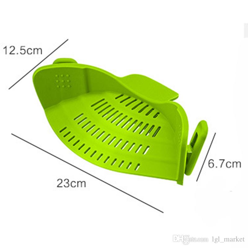 Multifunction Silicone Pot Pan Bowl Funnel Strainer Kitchen Rice Washing Colander Tool Liquid Drainer Kitchen Colander For Pans Pot