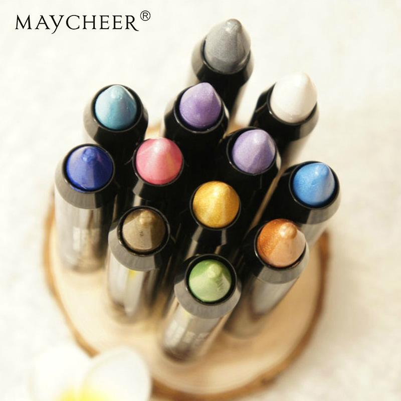 MAYCHEER 12 Colors Glitter Eyeshadow Pen Silkworms Shimmer Eye Shadow Powder Matte Nude Makeup Mate Make Up Cosmetic