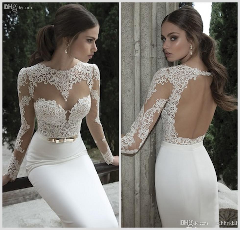 2018 Vestido De Noiva Berta Mermaid Wedding Dresses Cheap Spring Summer High Neck Long Sleeve Sheer Lace Backless Bridal Gowns Under 100