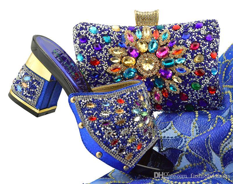 37c0a9d32b Großhandel Neue Ankunft FGT004 Royal Blue Farbe Afrikanische Frauen  Passenden Italienischen Schuhe Und Tasche Set Dekoriert Mit Strass  Italienische Damen ...