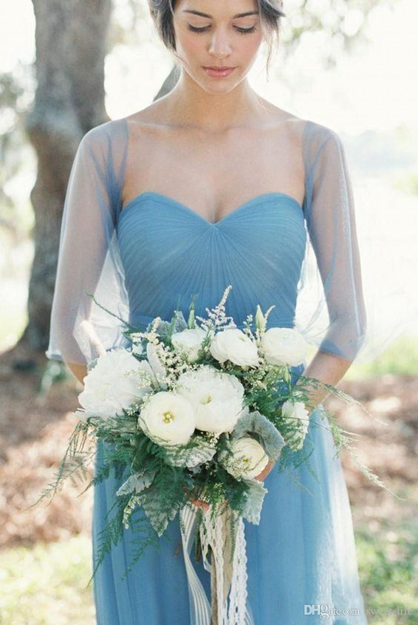 2018 Vintage Blue Tulle Long Country Bridesmaid Dresses with Long Sleeve Jacket Sweetheart Bohemian Maid of Honor Junior Wedding Guest Gown