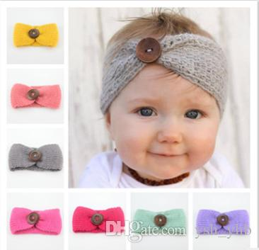 Großhandel Neue Baby Mädchen Mode Wolle Häkeln Stirnband Mit Taste ...