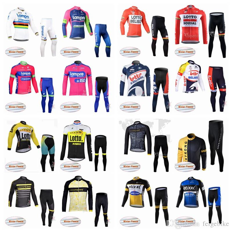 LAMPRE LOTTO Team Cycling Winter Thermal Fleece Jersey Pants Sets Men  Fashion Comfortable Bicycle Long Sets Q50411 LOTTO Cycling Jersey Cycling  Clothing ... bf5cec2ac