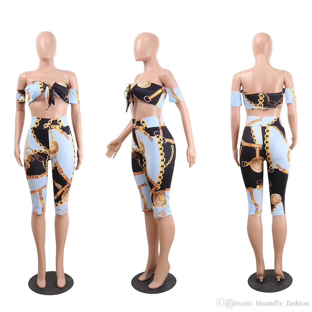 Bayan Eşofman Moda Zincir Baskı Kırpma Üst ve Pantolon 2 Parça Set Kadın Plaj Takım Elbise Ince Set Seksi Tropikal Yaz Kıyafetler