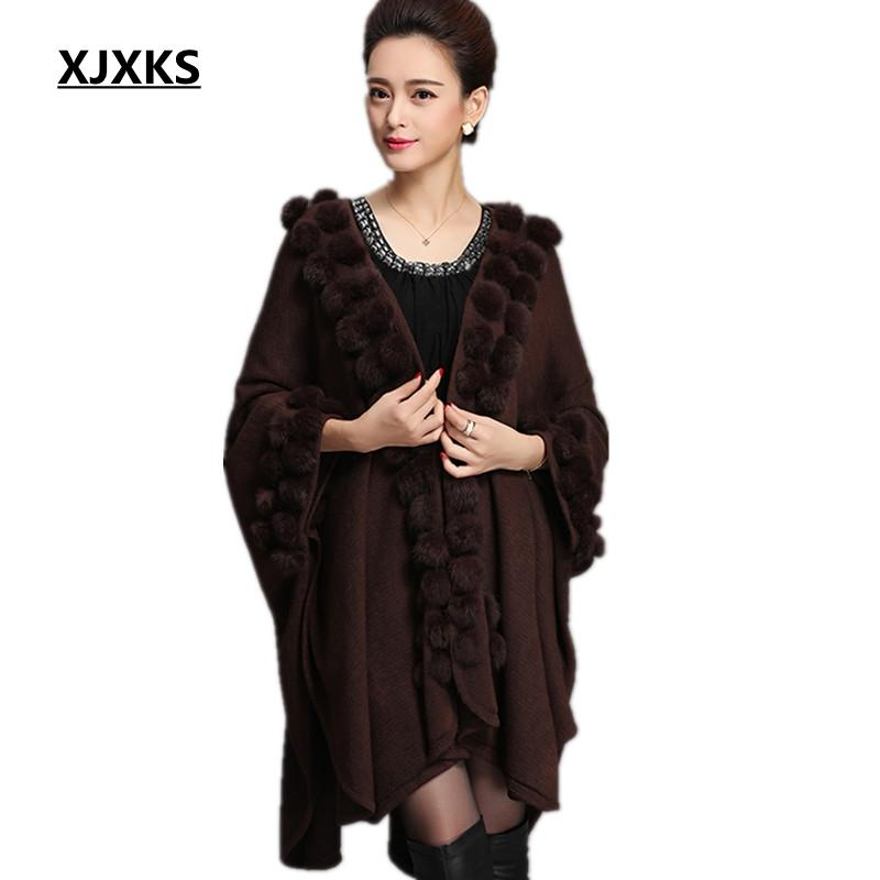 68fac77d42 2019 XJXKS Womens Ponchos Shawl Cardigan Sweater Womens Capes Big Yards  Loose Bat Sweater Autumn Winter Capes And Ponchoes From Maoyili