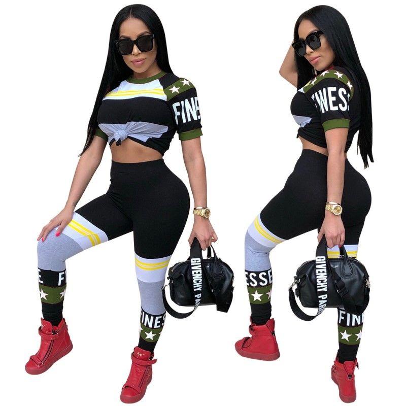 Femmes Été Sexy Club Vêtements de sport Tenues extensibles Pantalons à la mode T-Shirts Ensembles sportifs Imprimer Lettre Crop Top Leggings Casual Sportswear