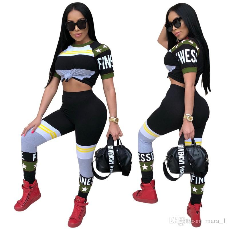 Mujeres Summer Sexy Club Activewear Stretchy Outfits Moda Pantalones Camisetas Deportes Sets Print Letter Crop Top Leggings Casual Sportswear