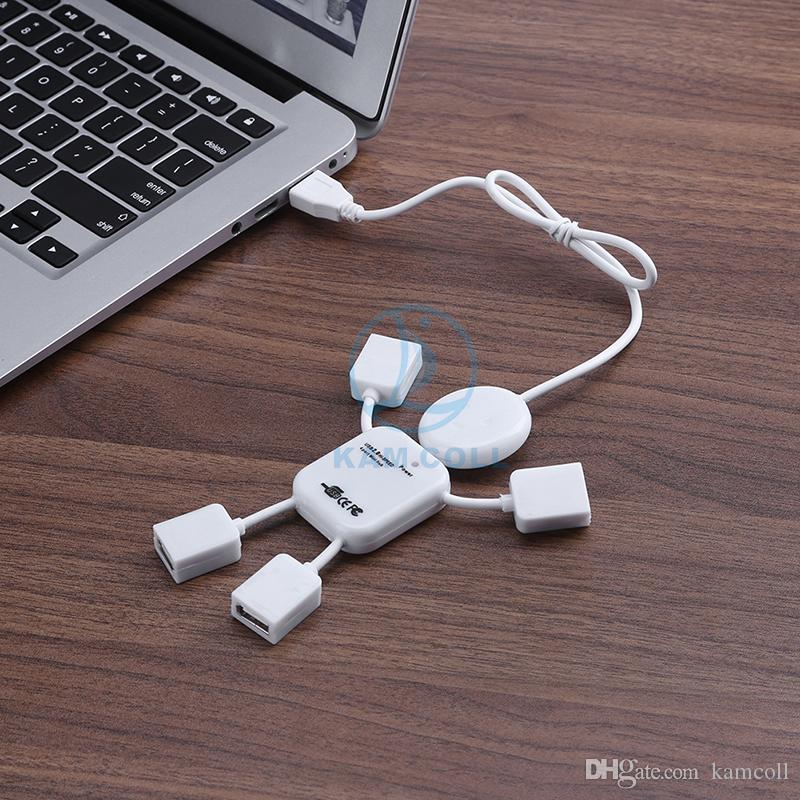 High Speed ​​4 Ports USB 2.0 Hub Adapter Sharing Switch Humanoid Mini USB Erweiterungsschnittstelle für Laptop Smartphone Tablet PC