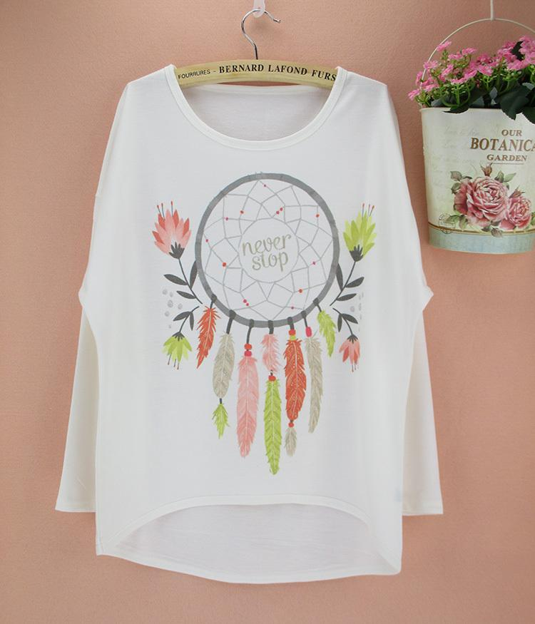2014 Famous Design Dream Catcher Pattern Plus Size T Shirt Women Long  Sleeve New Autumn Top Tees Girls Novelty Print Clothing T Shirts Designs  Online T ... 431a0f3b171